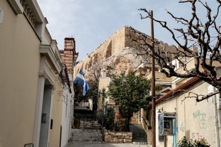 Blick von Plaka, der Altstadt, auf die Akropolis
