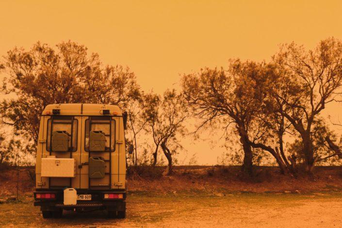 Saharasand liegt in der Luft