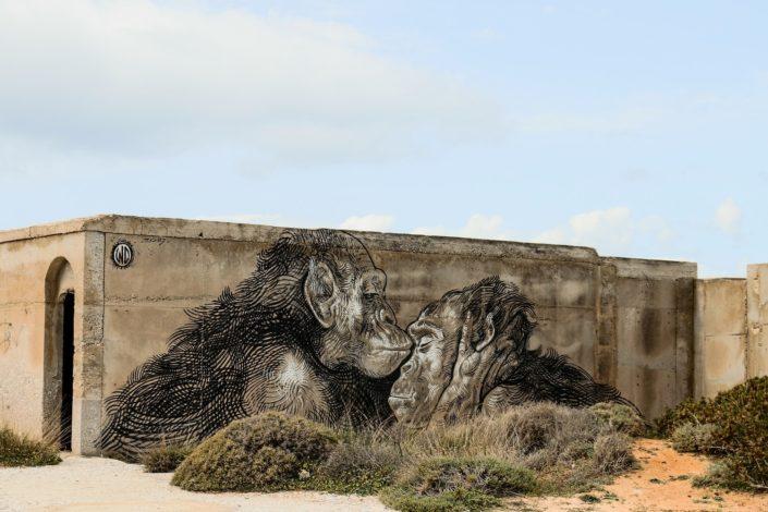 Street Art am verlassenen Hotel bei Alyko