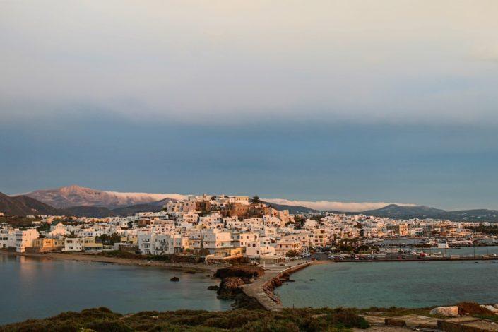 Naxos Stadt bei Sonnenuntergang