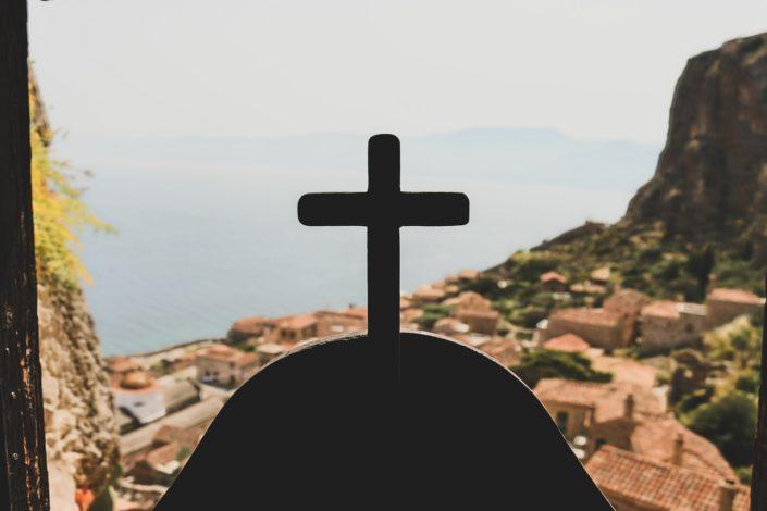 Blick von einer Bergkapelle