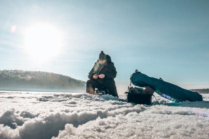 Eisfischer auf dem Angara