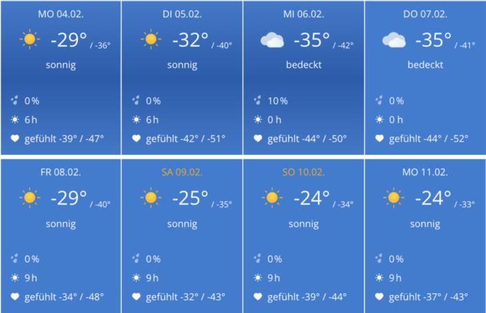 Sibirischer Winter und der Grund unserer Flucht