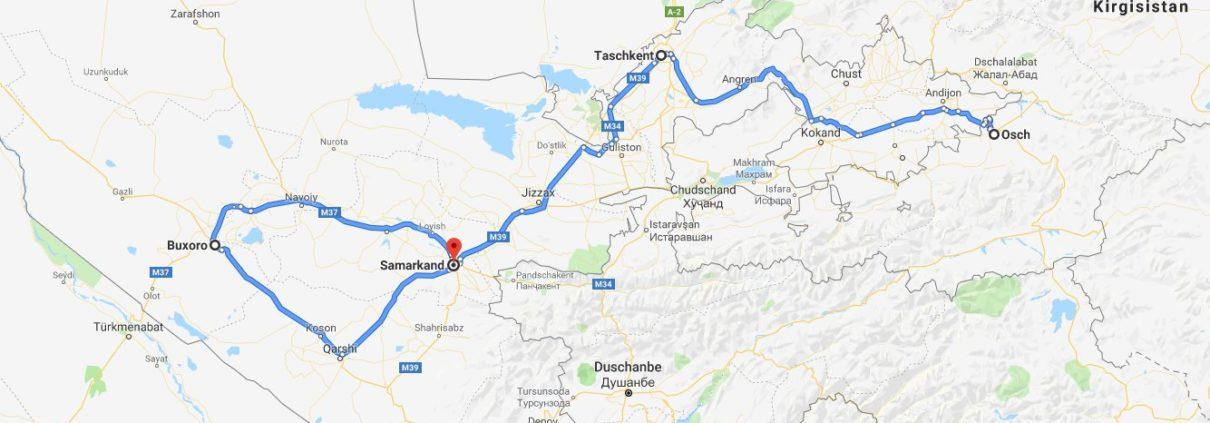 Route Usbekistan